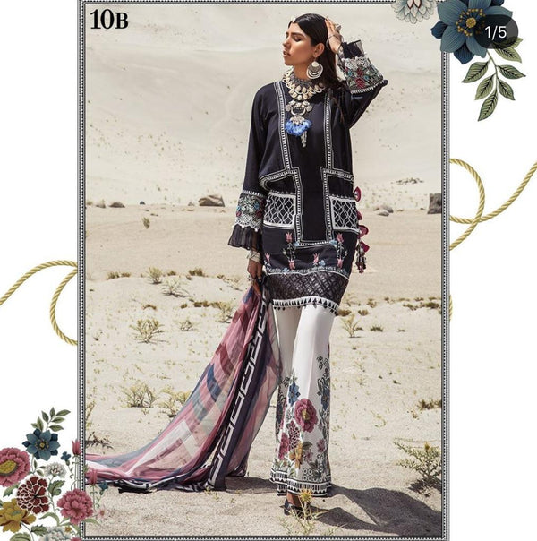 Black Lawn Salwar Kameez-Suit - Maria B M.Prints 2019 Collection