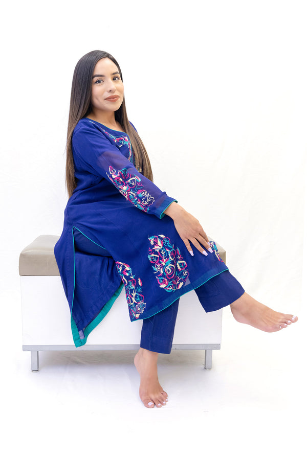 Midnight Blue Chiffon Salwar Kameez-Suit - Trendz & Traditionz Boutique