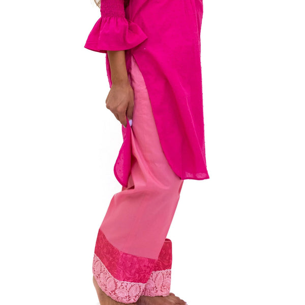 Magenta Cotton Shirt & Pants - Stylish Indian Pakistani Fashion