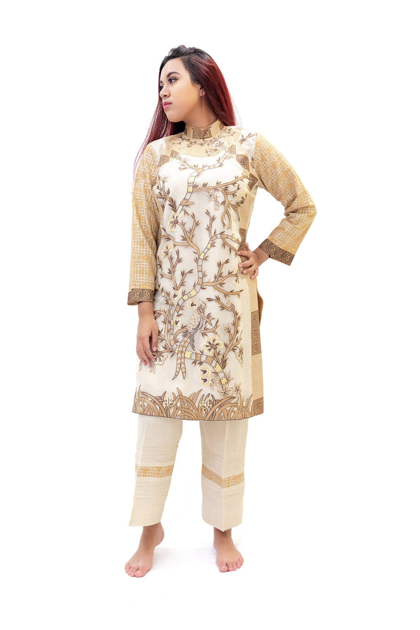 Beige & White Cotton Salwar Kameez - Suit - Trendy South Asian Fashion