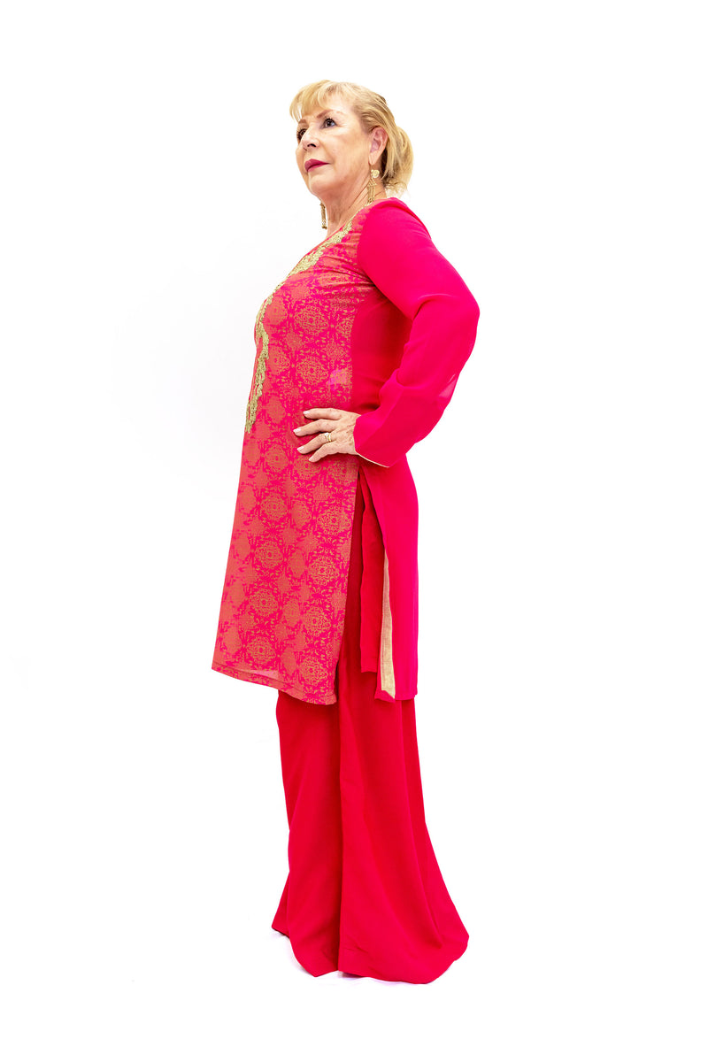 Magenta Chiffon Salwar Kameez - Suit - Women's South Asian Fashion
