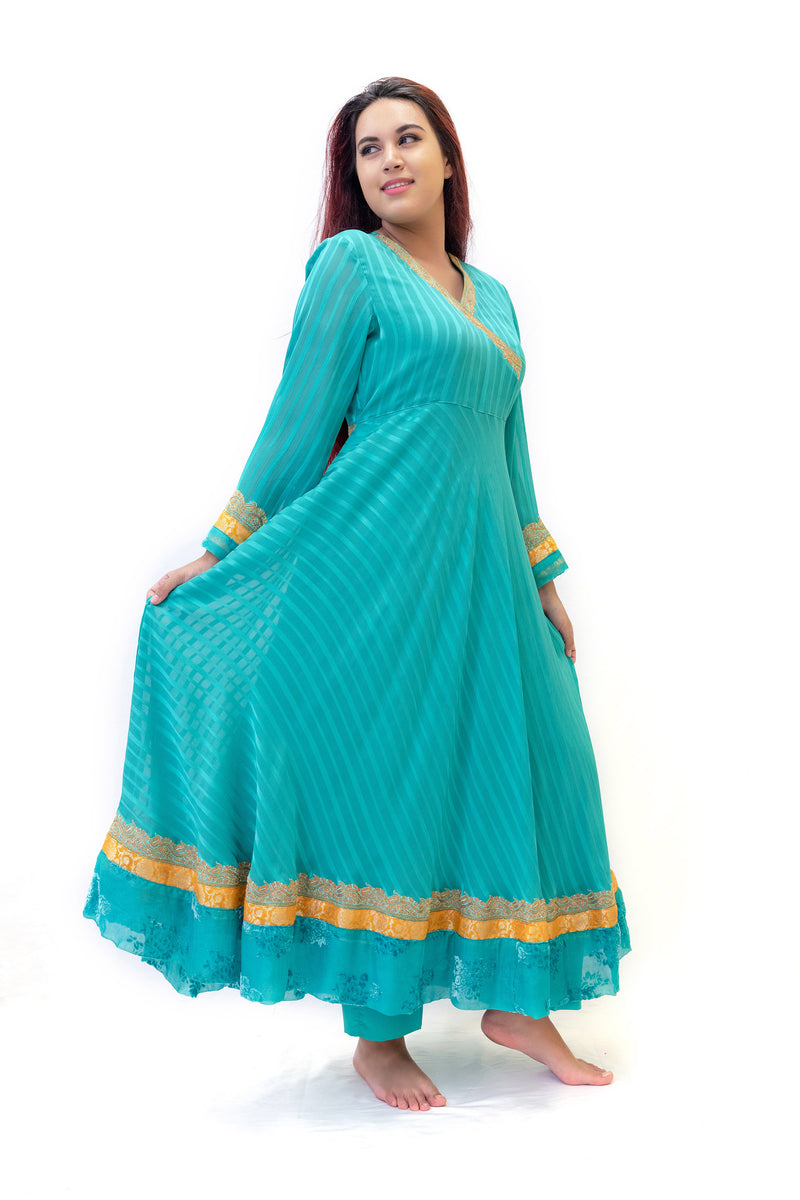 Teal Long Sleeve Dress - South Asian Fashion & Unique Home Decor