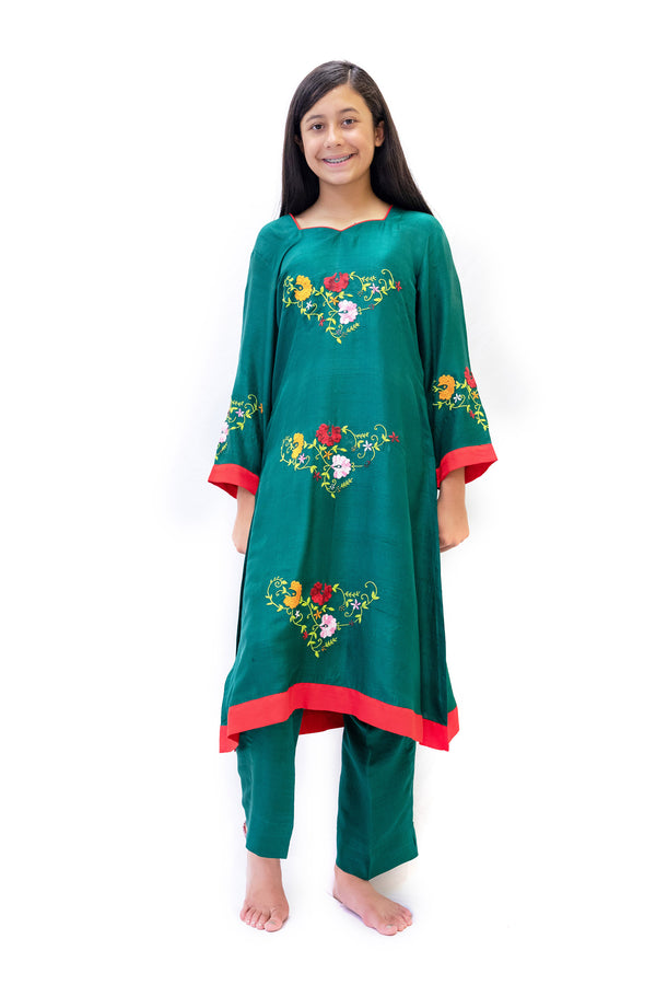 Green Silk Salwar Kameez- Suit - Trendz & Traditionz Boutique