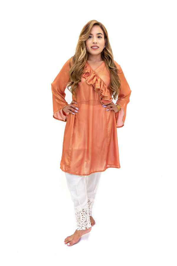 Peach Silk Shirt & White Cotton Pants - South Asian Fashion - Casual Wear