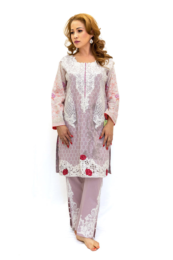 Blush Cotton Floral Salwar Kameez - Women's South Asian Fashion
