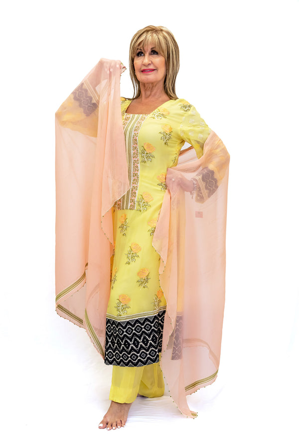 Yellow Silk Salwar Kameez Suit  - South Asian Fashion & Unique Home Decor