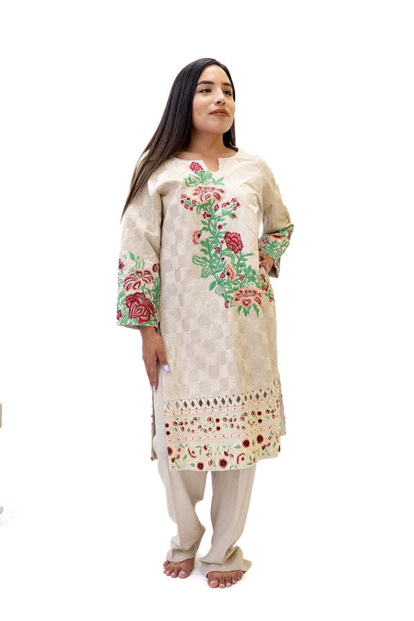 Beige Cotton Salwar Kameez - Erum Khan Suit