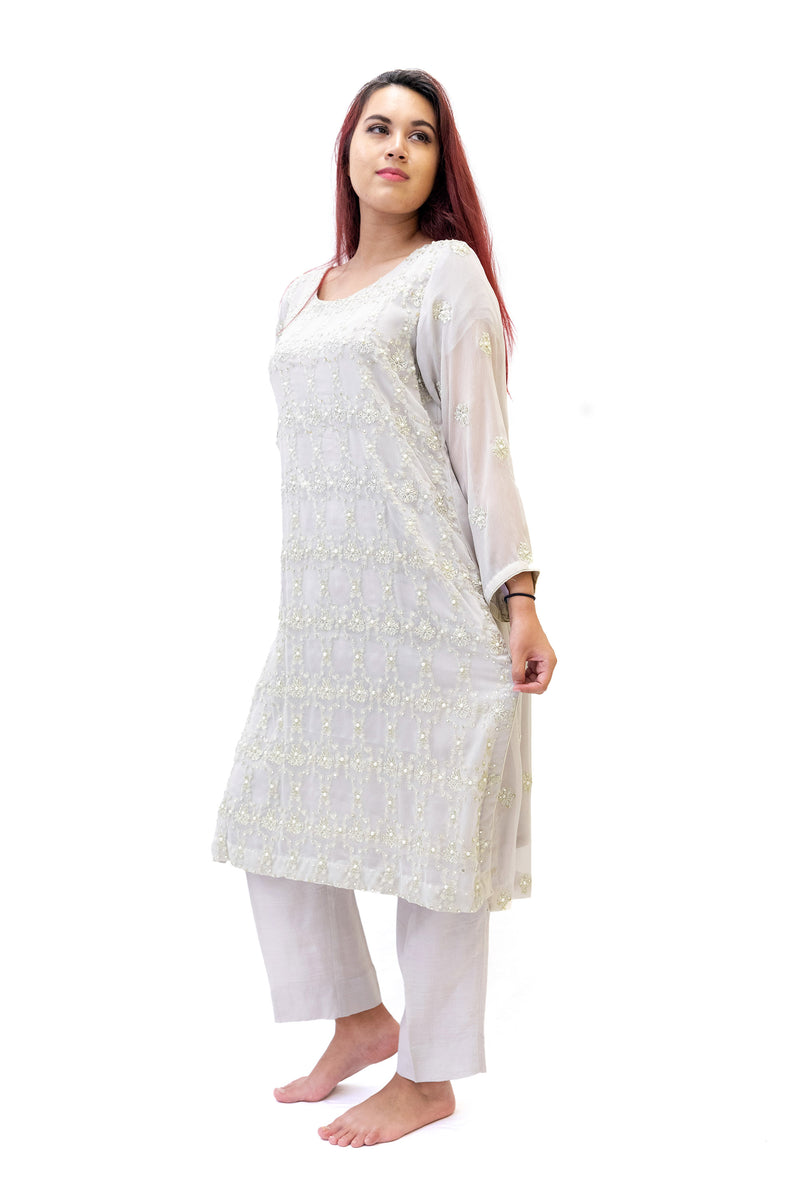 Light Grey Chiffon Salwar Kameez - Suit - South Asian Fashion