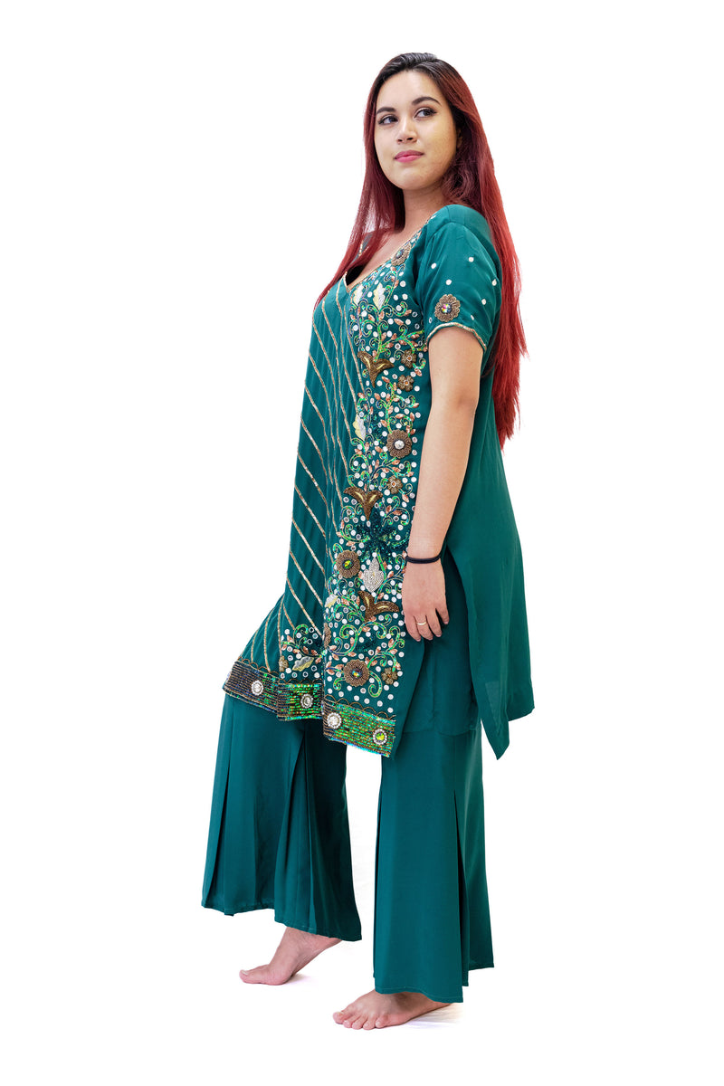 Green Silk Salwar Kameez - Suit - South Asian Fashion & Unique Home Decor