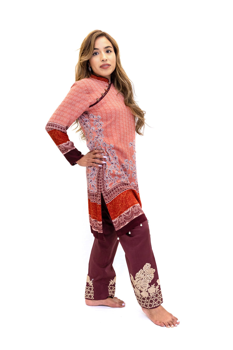 Orange Cotton Shirt & Maroon Cotton Pants - South Asian Fashion