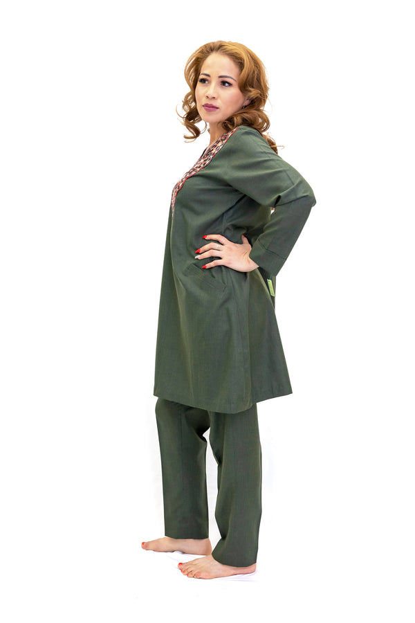 Olive Green Salwar Kameez - Suit - Custom Women's South Asian Fashion
