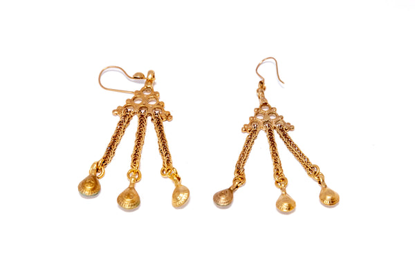 Dangling Golden Earrings - South Asian Fashion & Unique Home Decor
