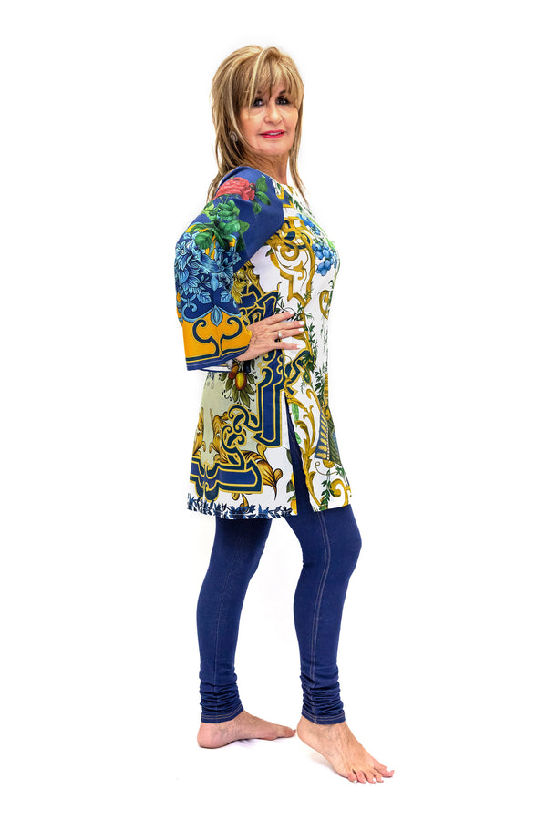 Blue Cotton Kurti - Shirt - South Asain Casual Wear
