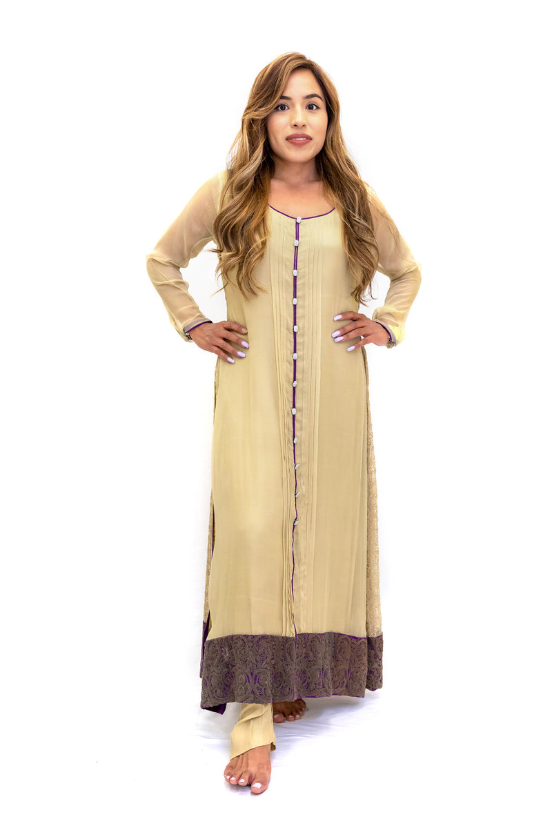 Beige Chiffon Silk Salwar Kameez Suit - Traditional South Asian Fashion