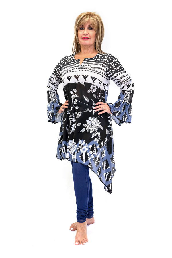 Black & White Cotton Shirt - South Asian Fashion - Casual Wear