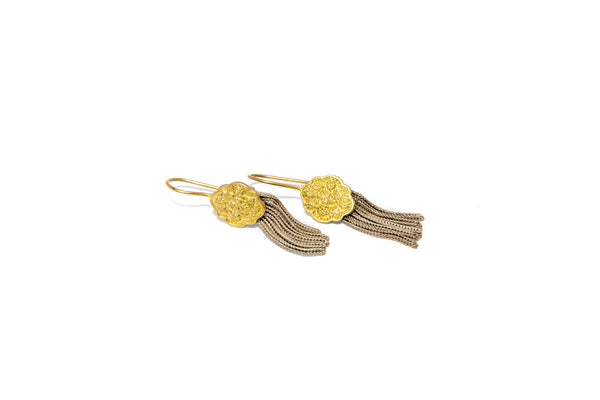 Golden Dangling Earrings -Traditional Jewelry - Indian Pakistani