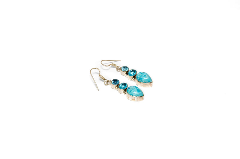 Light Blue Gemstone Earrings - Women's Jewelry - South Asian Fashion