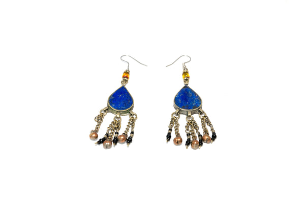 Blue Lapez Stone Drop Earrings - South Asian Fashion & Unique Home Decor