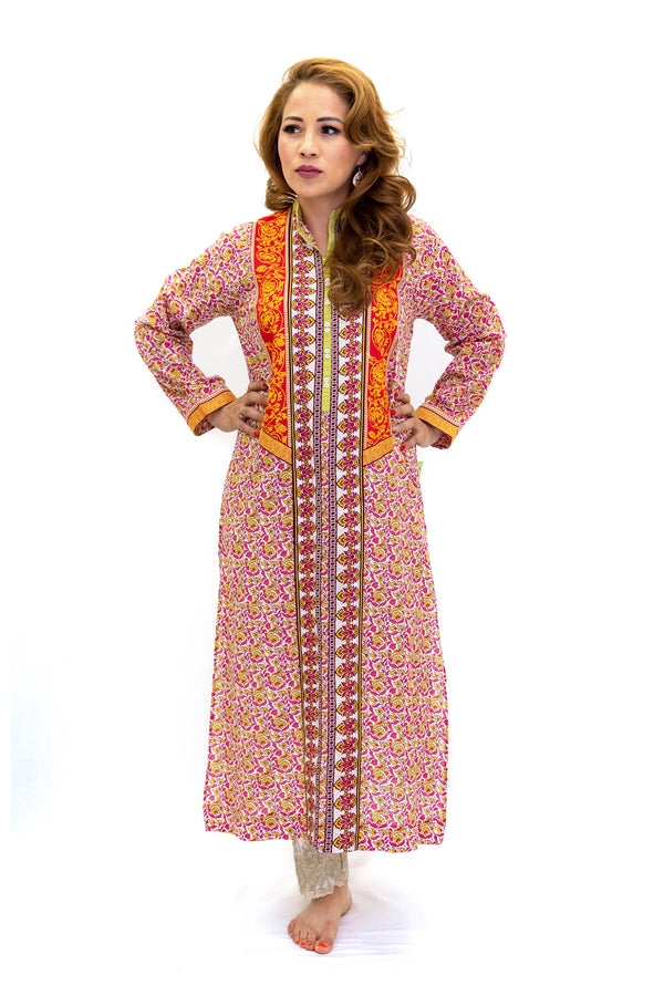 Maroon & Orange Print Cotton Kurti - Shirt - South Asian Fashion