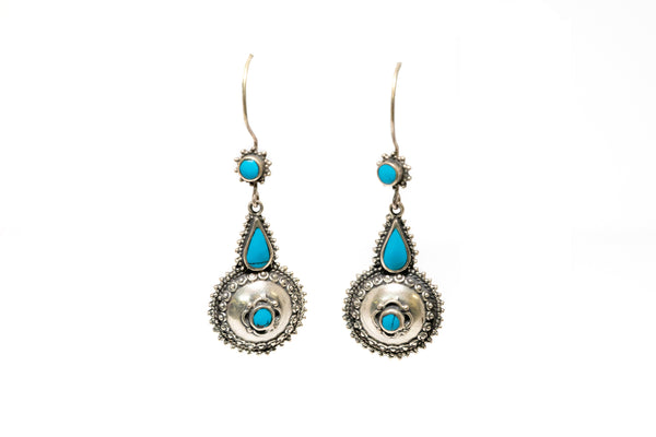 Silver and Blue Earrings - South Asian Fashion & Unique Home Decor