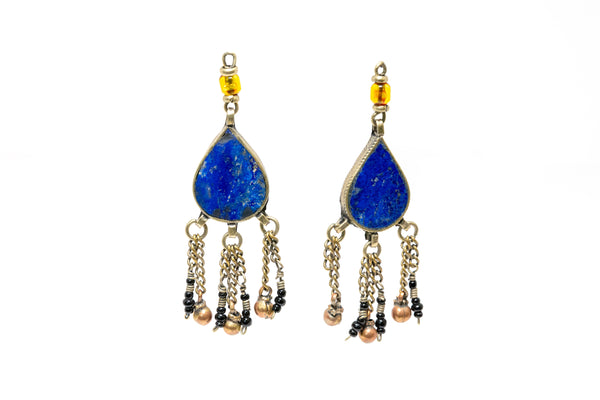 Blue Lapez Stone Drop Earrings - South Asian Jewelry & Unique Home Decor
