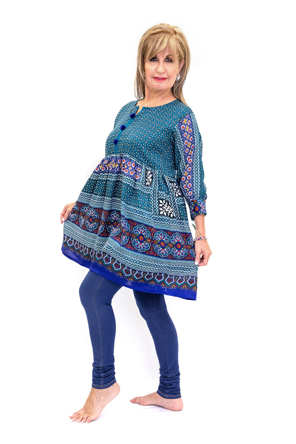 Colorful Multi-Print Cotton Kurti - Shirt - Casual South Asian Fashion
