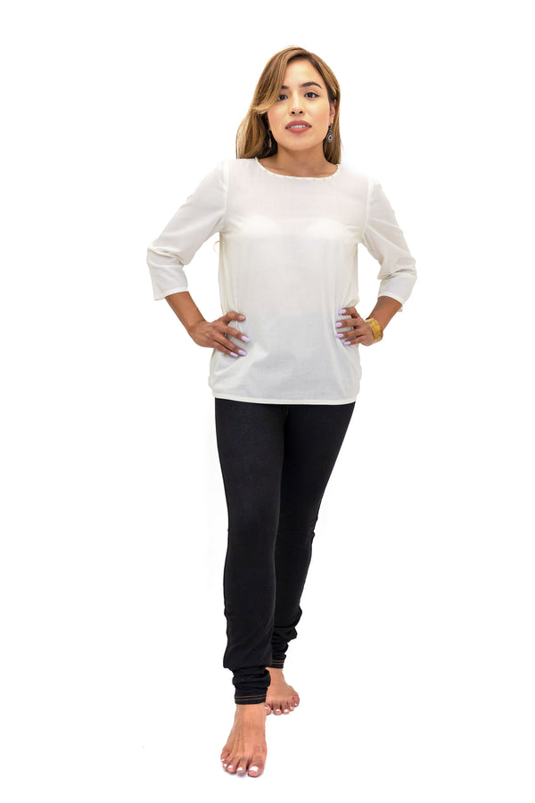White Long Cotton Shirt & Dark Wash Jeggings - South Asian Fashion