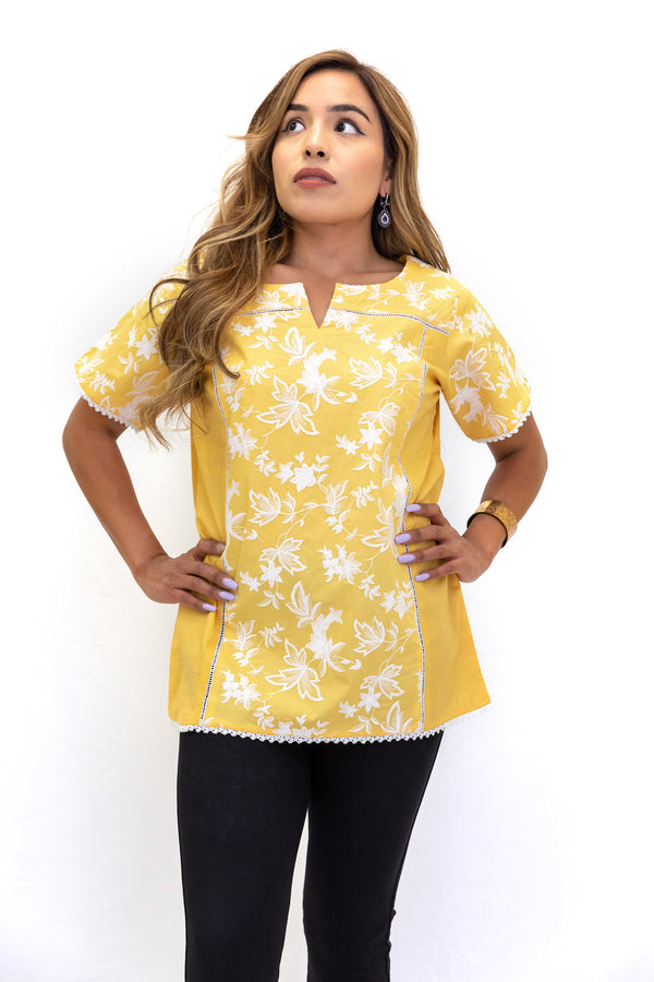 Yellow Cotton Shirt - South Asian Fashion - Casual Wear