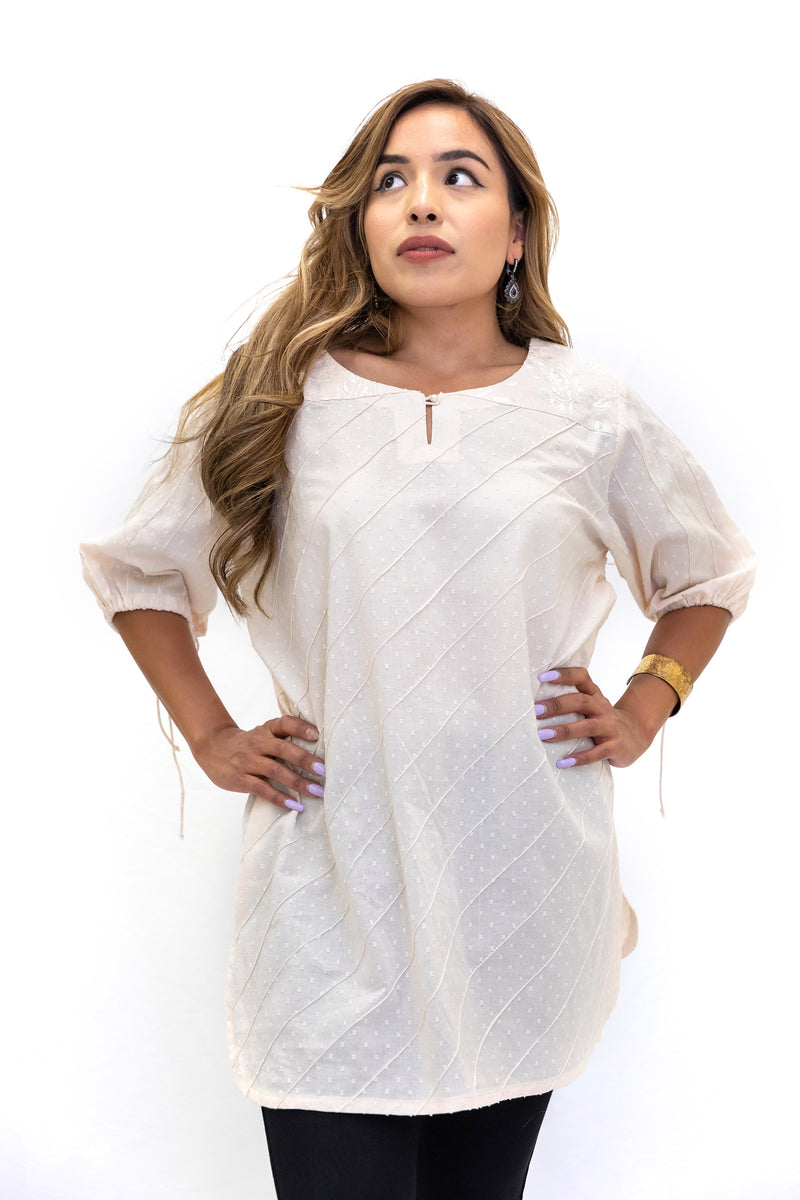 Creme Cotton Shirt  - Women's South Asian Fashion - Casual Wear