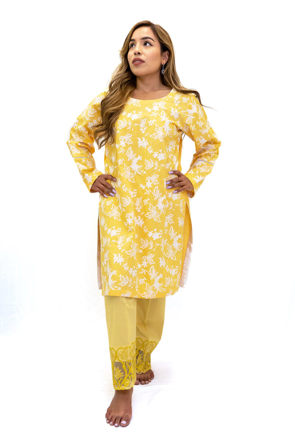 Yellow Cotton & Lace Pants - Women's South Asian Fashion