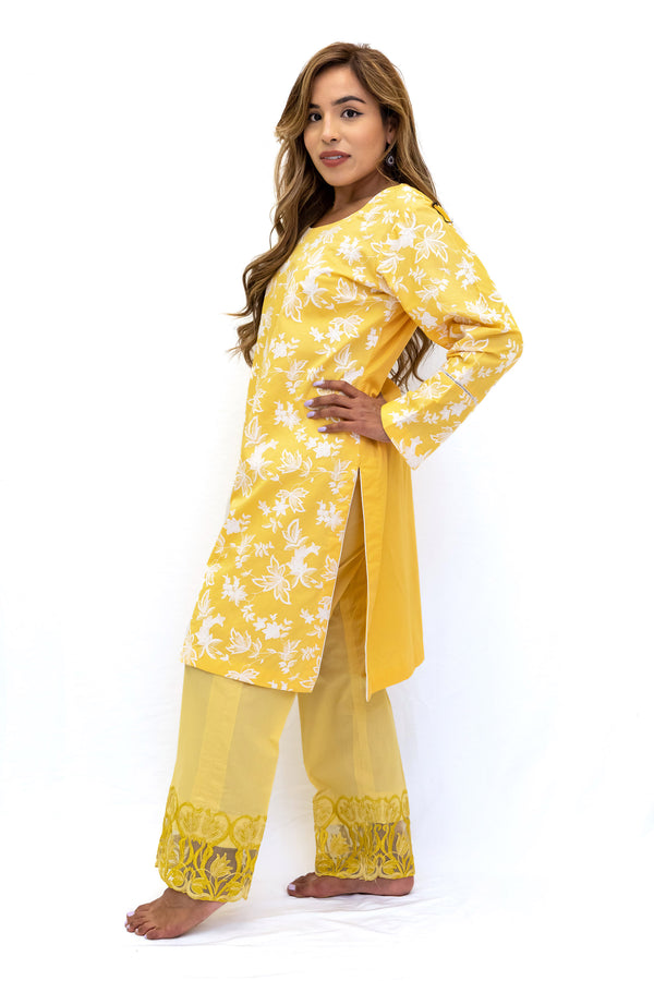 Yellow Cotton Embroidered Kurti - Women's South Asian Fashion - Ethnic Wear