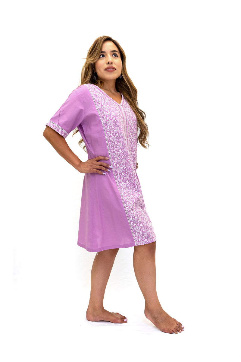 Purple Cotton Embroidered Dress - Casual South Asian Fashion