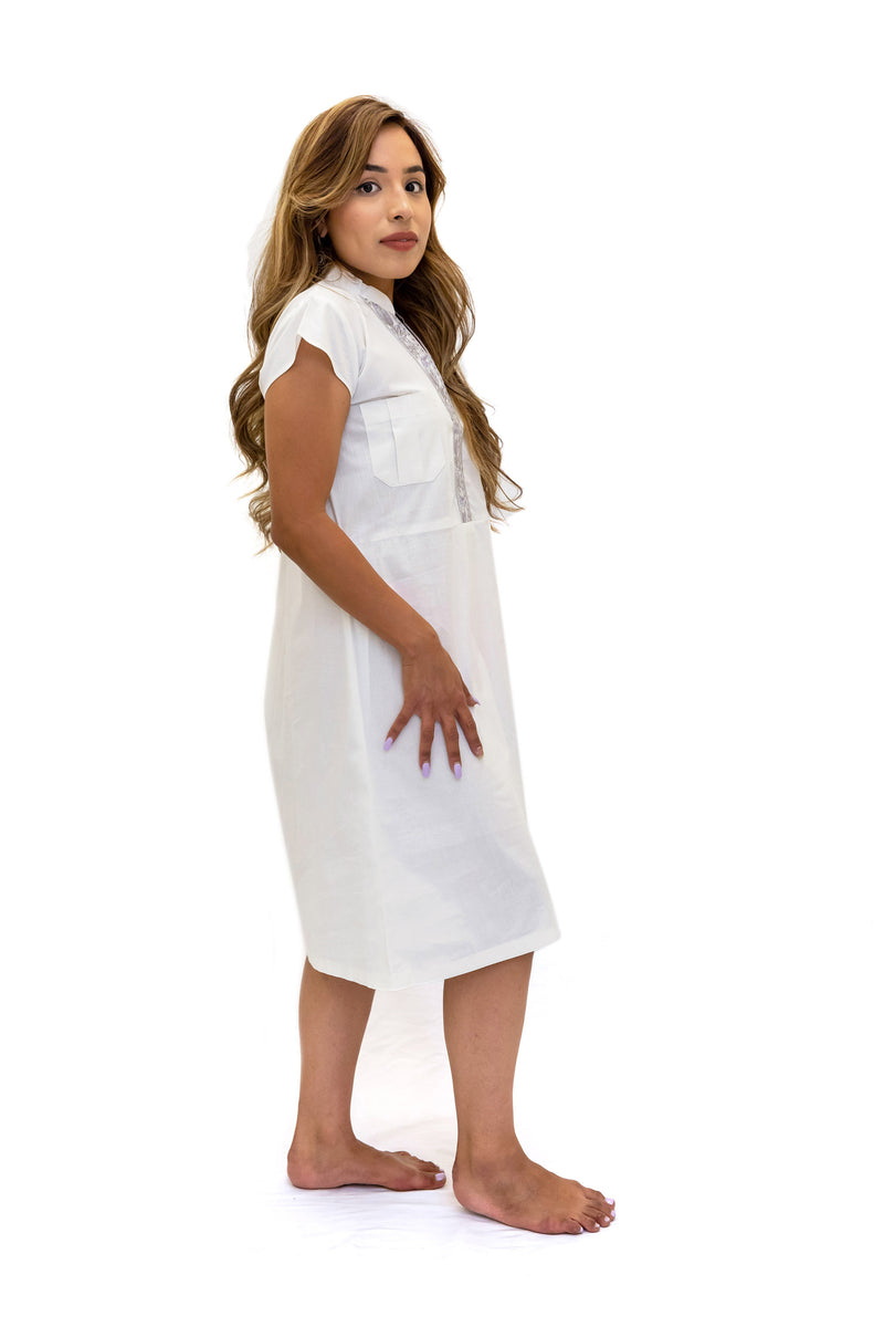 White Embroidered Cotton Dress - South Asian Fashion - Casual Wear