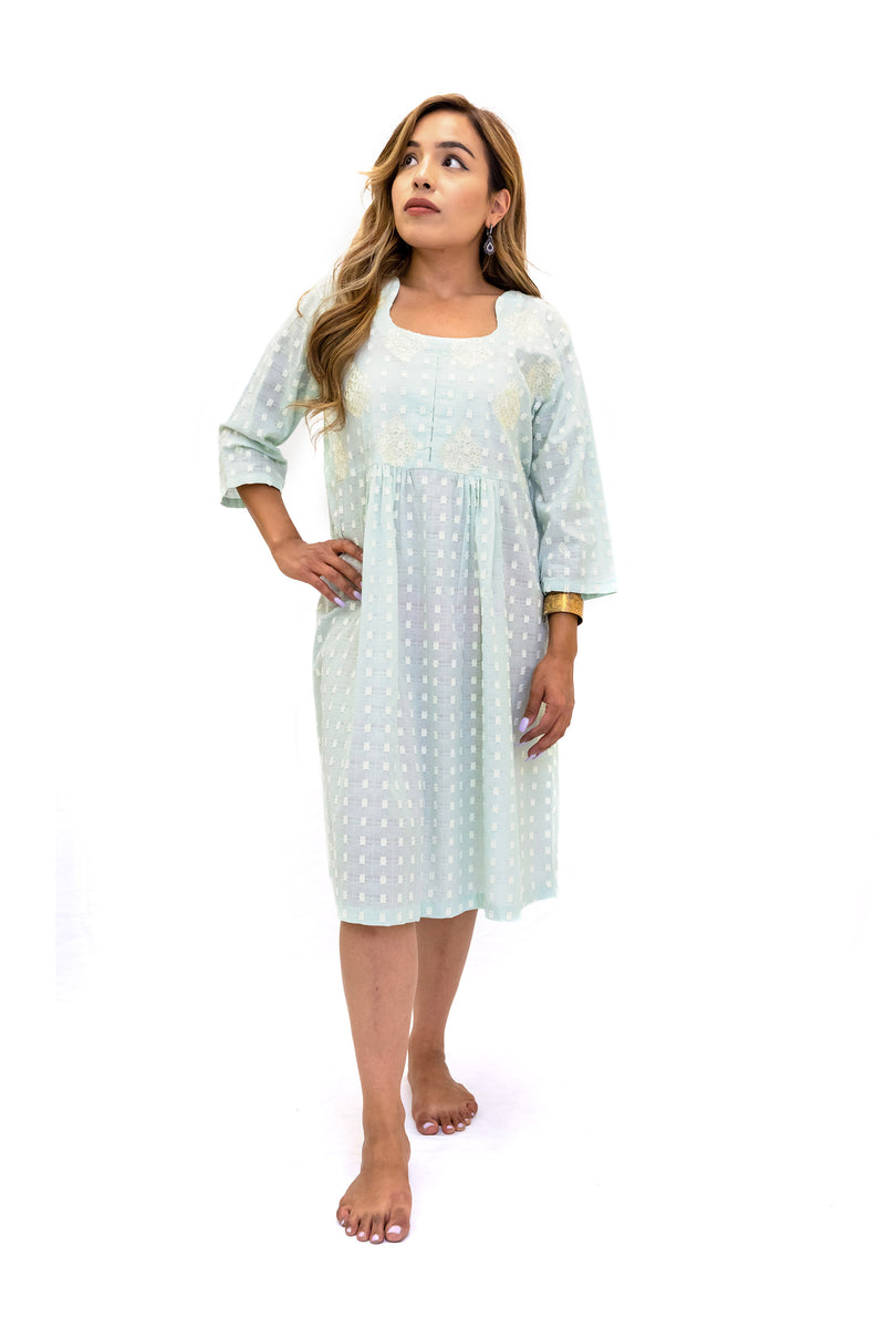 Light Blue Cotton Dress - South Asian Casual Wear