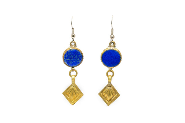 Turkish Silver & Lapis Dangle Earrings - South Asian Jewelry