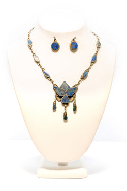 Metal and Blue Jewelry Set - Trendz & Traditionz Boutique