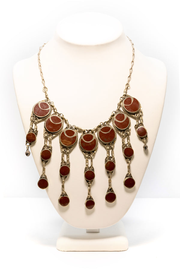 Red and Silver Necklace - South Asian Fashion & Unique Home Decor