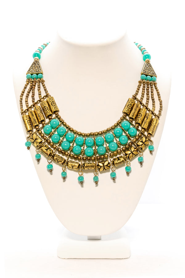 Turquoise & Gold Traditional Statement Necklace - Top Quality Traditional Jewelry & Accessories
