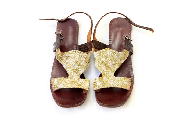 Gold Embroidered Leather Sandals - Trendz & Traditionz Boutique