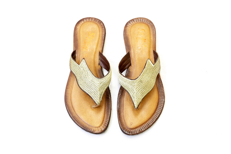 Leather Embroidered Chappal - Sandals - Women's Footwear