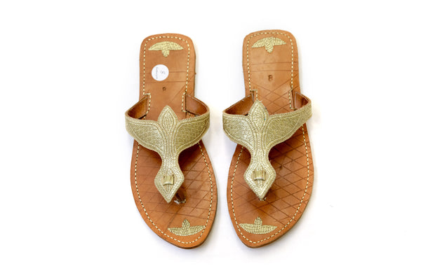 Gold Embroidered Leather Flip Flops - South Asian Fashion & Unique Home Decor