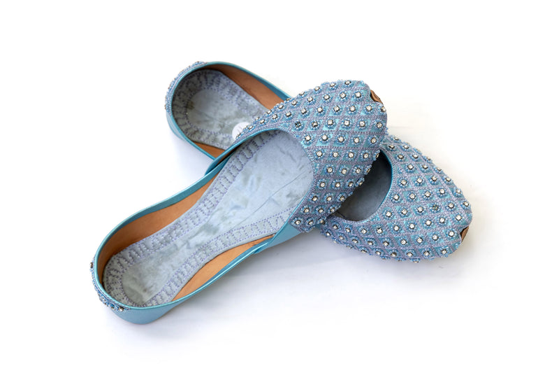 Light Blue Khussa - Shoes - Trendz & Traditionz Boutique