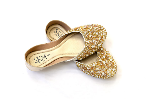 Gold Beaded Khussa - Shoes - Women's Footwear - South Asian Fashion