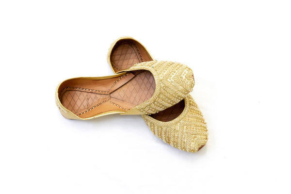Gold Sequins Jutti Khussa - Shoes - Women's - South Asian Fashion