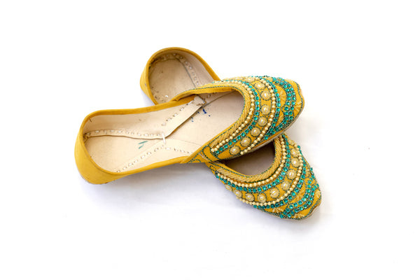 Yellow Jutti Khussa - Shoes - Women's - South Asian Fashion