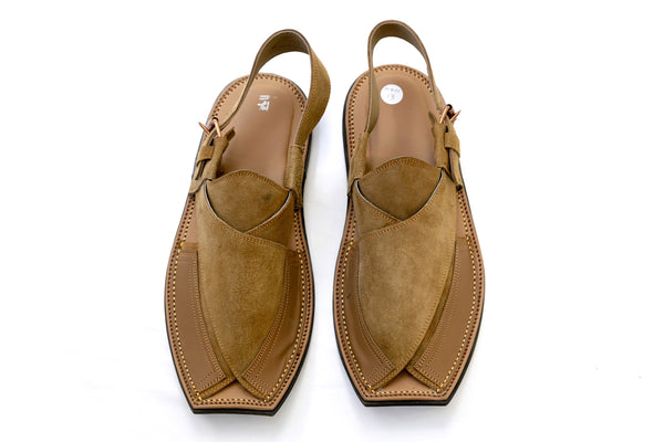 Tan Suede Peshawari Chappal - Sandals - Men's - South Asian Fashion