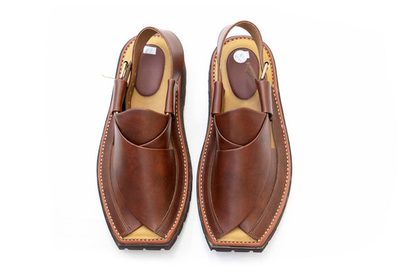 Brown Leather - Peshawari Sandals - Men's - South Asian Fashion & Unique Home Decor