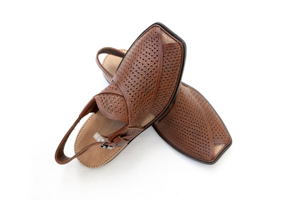 Brown Hole Leather Peshawari chappal- Sandals - Men's - South Asian Fashion & Unique Home Decor