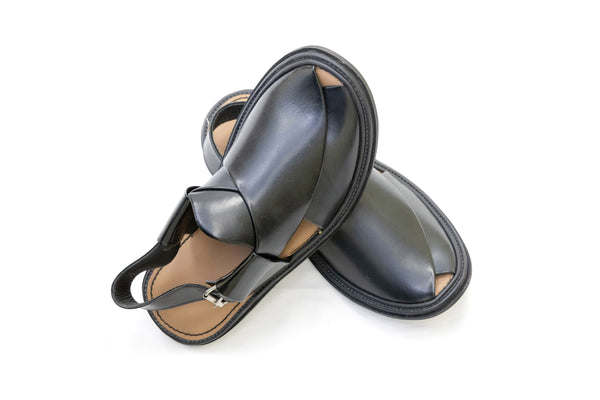 Black Leather Peshawari Chappal - Sandals - Men's