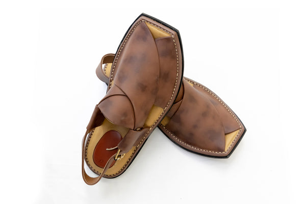 Brown Leather Peshawari Chappal - Sandals - Men's - South Asian Fashion & Unique Home Decor